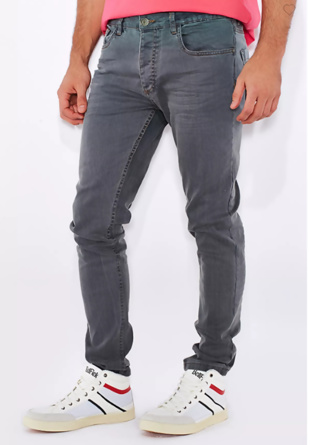 Mens Grey Skinny Fit Light Wash Jeans