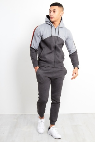 Mens Grey Spliced Panel Skinny Fit Tracksuit