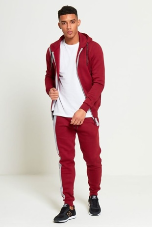 Mens Grey Panel Wine Hooded Tracksuit