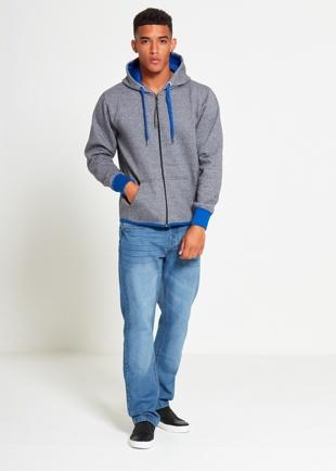 Mens Grey With Blue Contrast Zip Through Hoodie
