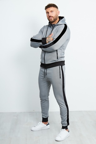 Mens Grey Zig Zag Zip Through Tracksuit With Velvet Stripes