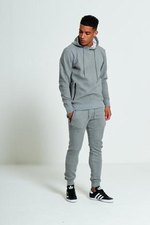 Mens Grey Zipped Pockets Detail Ribbed Tracksuit