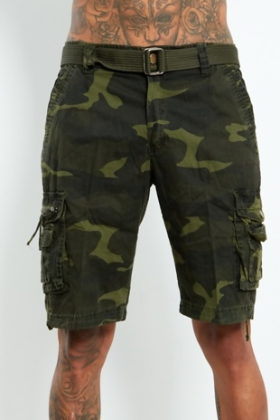 Mens Khaki Camo Belted Cargo Shorts