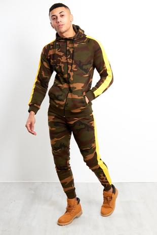 Mens Khaki Camo Striped Skinny Fit Hood Tracksuit