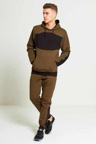Mens Khaki Contrasting Panel Hooded Loungewear Tracksuit