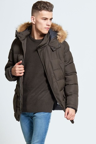 Mens Khaki Fur Hooded Parker Coat
