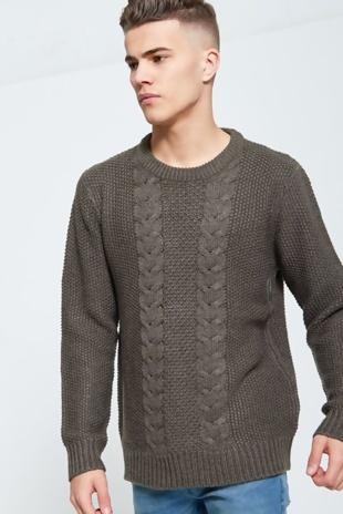 Mens Khaki Knitted Jumper
