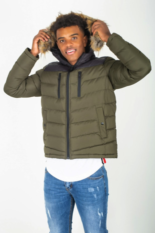 Mens Khaki Padded Coat With Black Panel