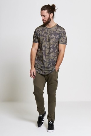Mens Khaki Stylish Knee Ribbed Trousers
