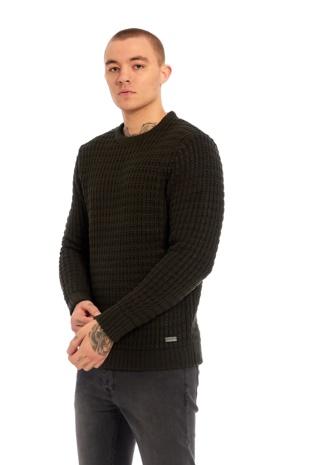 Mens Khaki Thick Knit Jumper