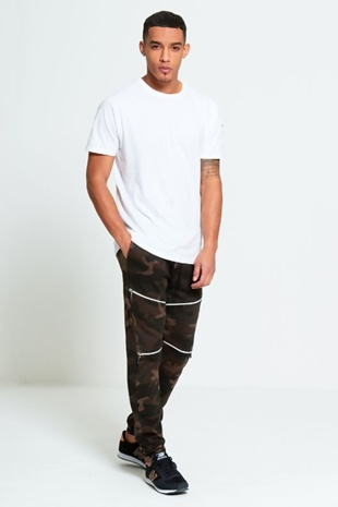 Mens Khaki  Zip Detail Camouflage Jogging Bottoms