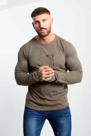Mens Khaki Zip Pocket Front Long Sleeve T-shirt