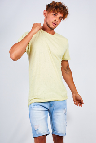 Mens Lemon Speckled Nep Crew Neck T-Shirt