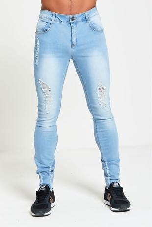 Mens Light Denim Distressed Skinny Jeans
