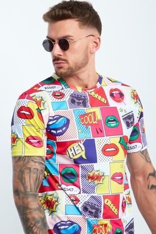 Mens Lip Printed Muscle Fit T-Shirt
