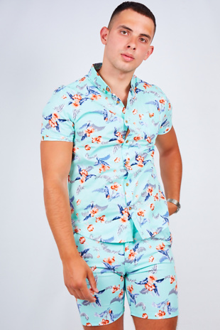Mens Mint Floral Print Shirt And Shorts Set