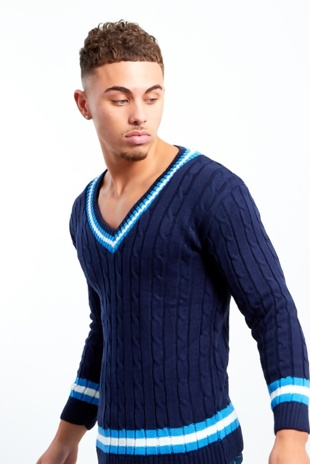 Mens Navy Cable Knitted V Neck Long Sleeve Cricket Jumper
