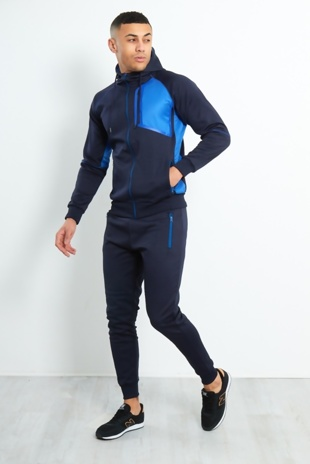 Mens Navy Contrast Zip Side Panel Skinny Fit Tracksuit