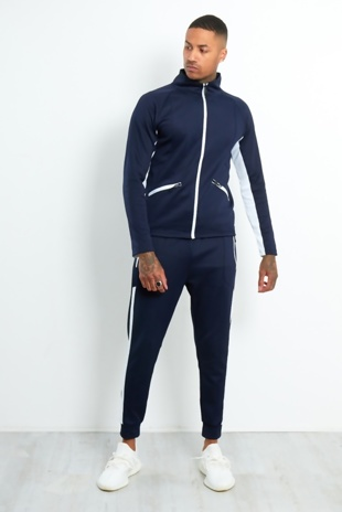 Mens Navy Contrast Zip Tracksuit With Panel Detail