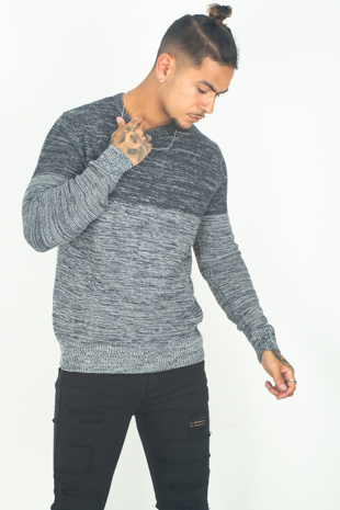 Mens Navy Double Tone Jumper