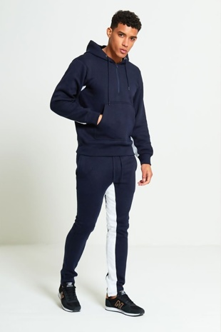 Mens Navy Front Pocket White Panel Tracksuit