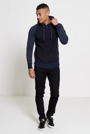Mens Navy Hooded Knit Sweater