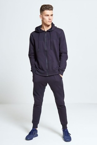 Mens Navy Hooded Ribbed Detail Tracksuit
