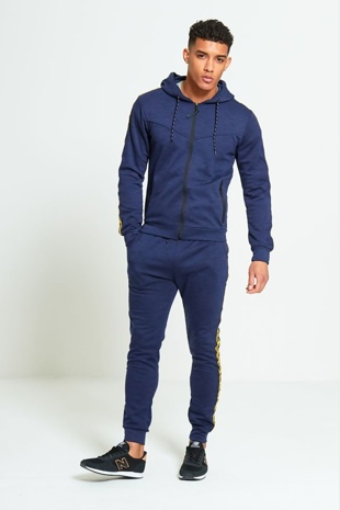 Mens Navy Marl Tracksuit With Yellow Side Graffiti Detailing