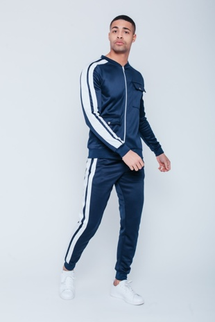 Mens Navy Pocket Detail Zip Through Skinny Tracksuit