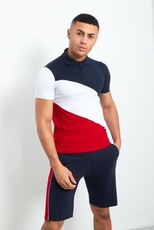 Mens Navy Polo Diagonal Colour Block Short Set