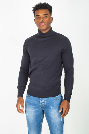 Mens Navy Polo Neck Fine Knit Jumper