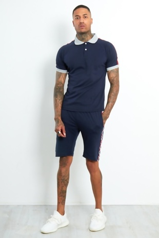 Mens Navy Polo Shirt And Short Set With Side Tape