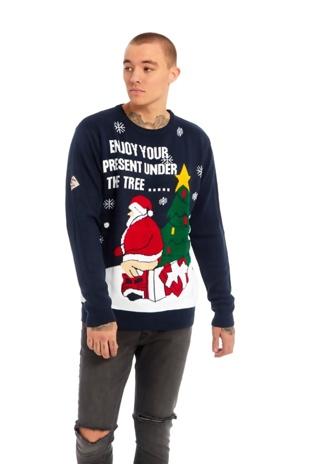 Mens Navy Present Under the Tree Christmas Jumper