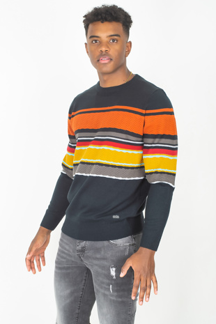Mens Navy Rib Trim Colourblock Jumper
