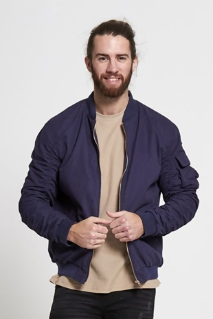 Mens Navy Ruched Sleeve Bomber Jacket