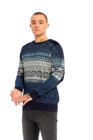 Mens Navy Skull Pattern Sweatshirt