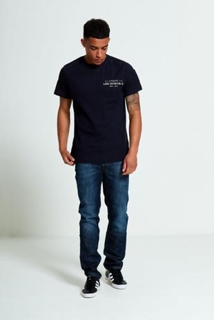 Mens Navy Textured T-Shirt