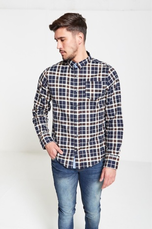 Mens Navy Windowpane Checked Shirt