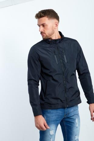 Mens Navy Zip Through Light Weight Jacket