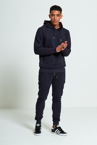 Mens Navy Zipped Pockets Detail Ribbed Tracksuit