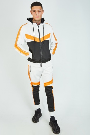 Mens Orange Colour Block Grey Stripe Tracksuit With Band