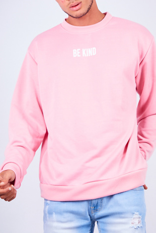 Mens Pink Be Kind Slogan Jumper