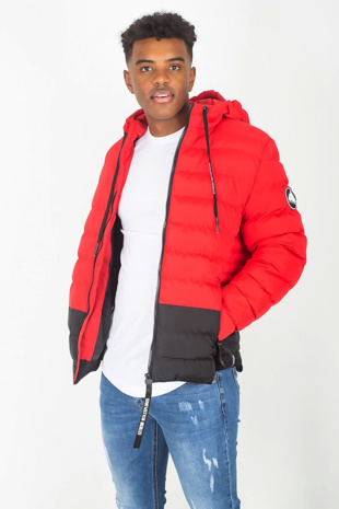 Mens Red Colourblock Puffer Jacket