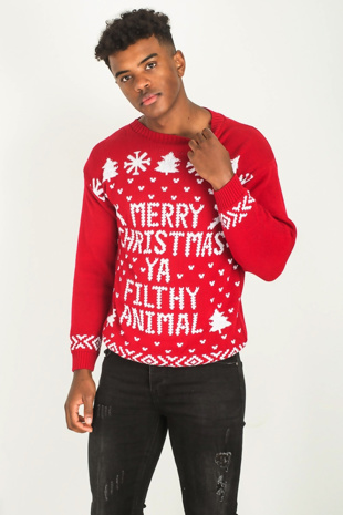 Mens Red Merry Christmas Slogan Knitted Jumper