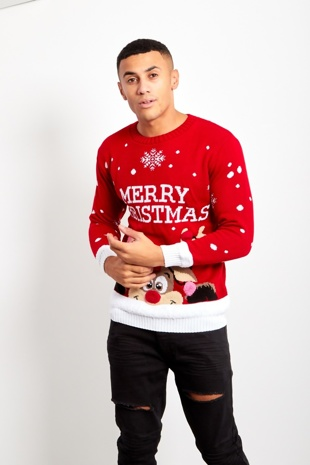 Mens Red Pom Reindeer Knitted Christmas Jumper