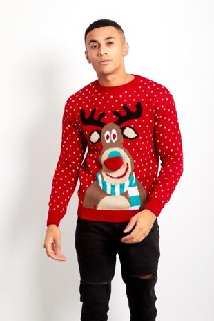 Mens Red Rudolph Pom Nose Christmas Jumper