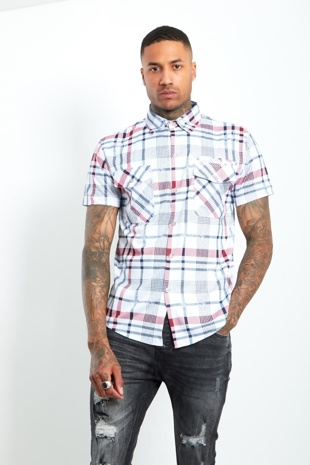 Mens Red Short Sleeve Plaid Shirt