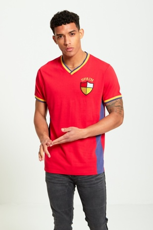 Mens Red Spain Print Sports T-shirt