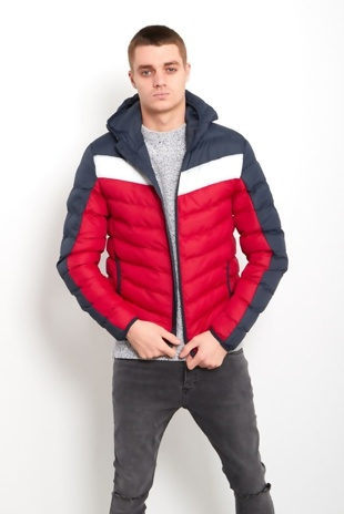 Mens Red Two-Tone Puffer Bomber Jacket