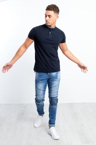 Mens Ribbed Knee Faded Denim Skinny Jeans